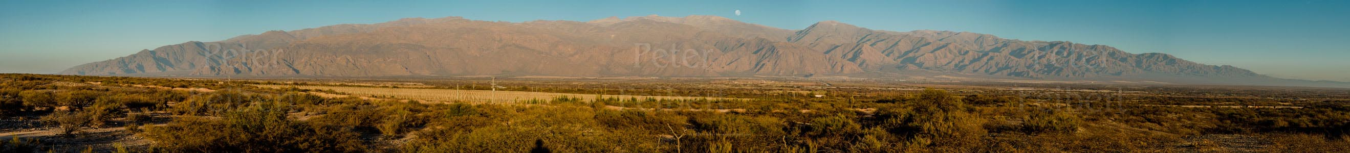 The setting moon, environs of the town of Cafayate, Calchaquí valley, Salta, Argentina.